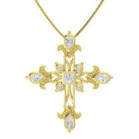 Princess White Sapphire 14K Yellow Gold Pendant with White Sapphire and Diamond