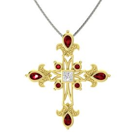 Princess White Sapphire 14K Yellow Gold Pendant with Ruby