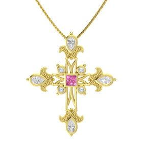 Princess Pink Sapphire 14K Yellow Gold Pendant with White Sapphire and Diamond