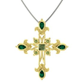 Princess Green Tourmaline 14K Yellow Gold Pendant with Emerald and Green Tourmaline