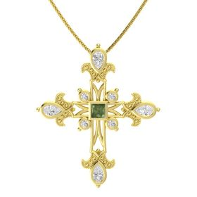 Princess Green Tourmaline 14K Yellow Gold Pendant with White Sapphire