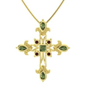 Princess Green Tourmaline 14K Yellow Gold Pendant with Green Tourmaline and Red Garnet