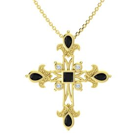 Princess Black Onyx 14K Yellow Gold Pendant with Black Onyx and Diamond
