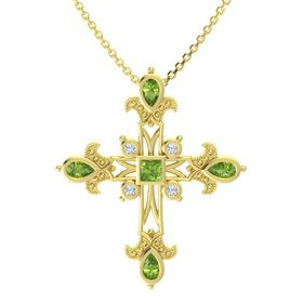 Princess Peridot 14K Yellow Gold Pendant with Peridot and Diamond