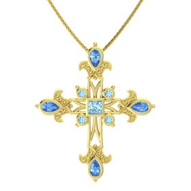 Princess Aquamarine 14K Yellow Gold Necklace with Blue Topaz