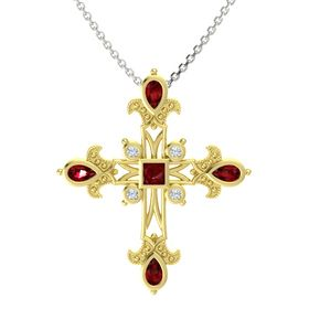 Princess Ruby 14K Yellow Gold Pendant with Ruby and Diamond