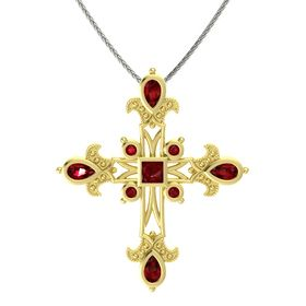 Princess Ruby 14K Yellow Gold Pendant with Ruby