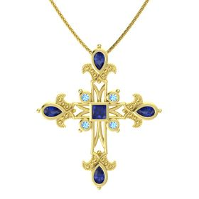 Princess Sapphire 14K Yellow Gold Necklace with Sapphire & Blue Topaz