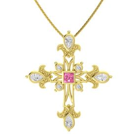 Princess Pink Tourmaline 14K Yellow Gold Pendant with White Sapphire