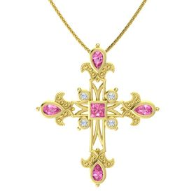 Princess Pink Tourmaline 14K Yellow Gold Pendant with Pink Tourmaline and Diamond