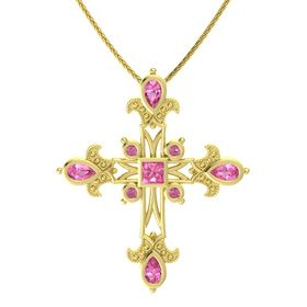 Princess Pink Tourmaline 14K Yellow Gold Pendant with Pink Tourmaline