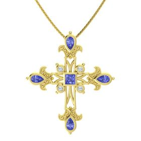Princess Tanzanite 14K Yellow Gold Pendant with Tanzanite and Diamond