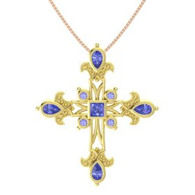 Princess Tanzanite 14K Yellow Gold Pendant with Tanzanite