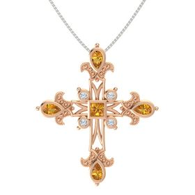 Princess Citrine 18K Rose Gold Pendant with Citrine and Diamond