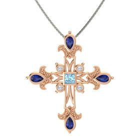 Princess Aquamarine 18K Rose Gold Pendant with Blue Sapphire and Diamond