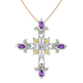 Princess Diamond 18K White Gold Pendant with Amethyst and Yellow Sapphire