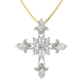 Princess Diamond 18K White Gold Pendant with White Sapphire and Diamond