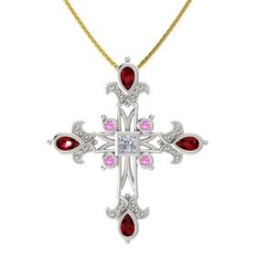 Princess Diamond 18K White Gold Pendant with Ruby and Pink Sapphire