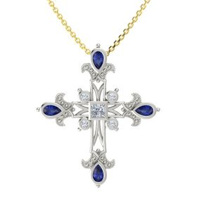Princess Diamond 18K White Gold Pendant with Blue Sapphire and Diamond