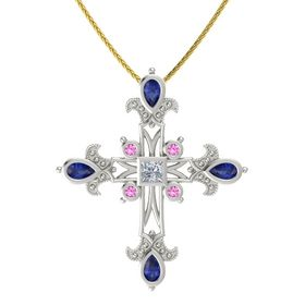 Princess Diamond 18K White Gold Pendant with Blue Sapphire and Pink Sapphire