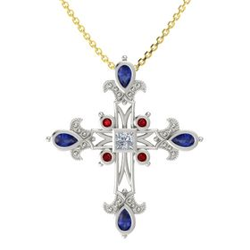 Princess Diamond 18K White Gold Pendant with Blue Sapphire and Ruby