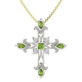 Princess Peridot 18K White Gold Pendant with Peridot and Diamond