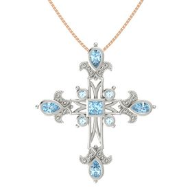 Princess Aquamarine 18K White Gold Pendant with Aquamarine