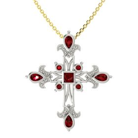 Princess Ruby 18K White Gold Pendant with Ruby