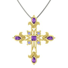 Princess Amethyst 18K Yellow Gold Necklace with Amethyst & Tanzanite