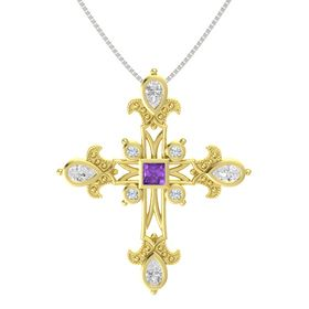 Princess Amethyst 18K Yellow Gold Pendant with White Sapphire and Diamond