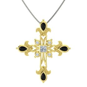 Princess Diamond 18K Yellow Gold Pendant with Black Onyx and Diamond