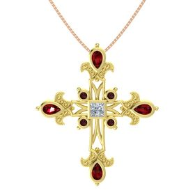 Princess Diamond 18K Yellow Gold Pendant with Ruby and Red Garnet
