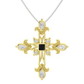 Princess Black Onyx 18K Yellow Gold Pendant with White Sapphire and Diamond