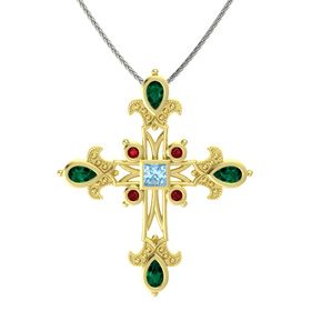 Princess Aquamarine 18K Yellow Gold Pendant with Emerald and Ruby