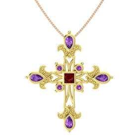 Princess Ruby 18K Yellow Gold Pendant with Amethyst