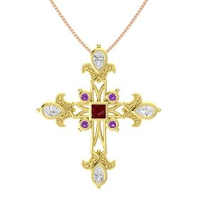 Princess Ruby 18K Yellow Gold Pendant with White Sapphire and Amethyst