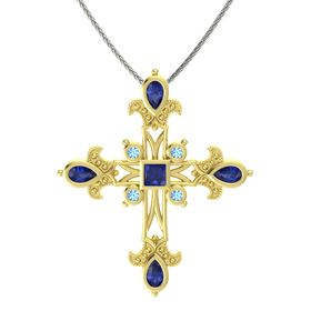 Princess Blue Sapphire 18K Yellow Gold Pendant with Blue Sapphire and Blue Topaz