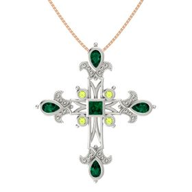Princess Emerald Platinum Pendant with Emerald and Peridot
