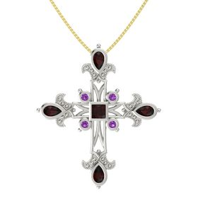 Princess Red Garnet Platinum Pendant with Red Garnet and Amethyst