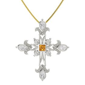 Princess Citrine Platinum Pendant with White Sapphire