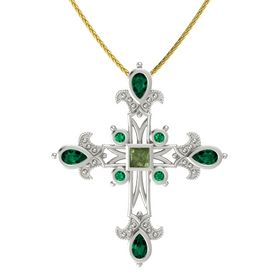 Princess Green Tourmaline Platinum Pendant with Emerald