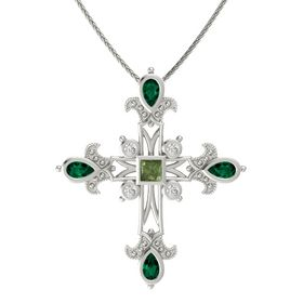 Princess Green Tourmaline Platinum Pendant with Emerald and White Sapphire