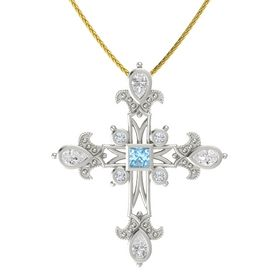 Princess Aquamarine Platinum Pendant with White Sapphire and Diamond