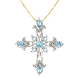 Princess Aquamarine Platinum Pendant with Aquamarine