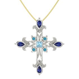 Princess Aquamarine Platinum Pendant with Blue Sapphire and London Blue Topaz