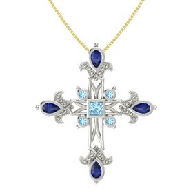 Princess Aquamarine Platinum Pendant with Blue Sapphire and Blue Topaz