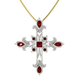 Princess Ruby Platinum Pendant with Ruby and Red Garnet