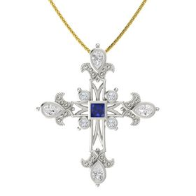 Princess Blue Sapphire Platinum Pendant with White Sapphire and Diamond