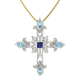 Princess Blue Sapphire Platinum Pendant with Aquamarine and Diamond