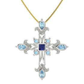 Princess Sapphire Platinum Necklace with Aquamarine & Blue Topaz